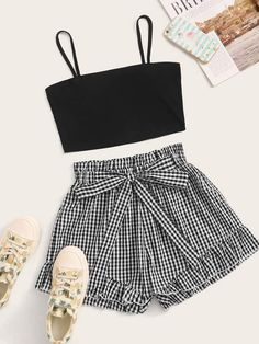 To find out about the Solid Crop Cami Top & Self Tie Gingham Shorts at SHEIN, part of our latest Two-piece Outfits ready to shop online today! Cute Comfy Outfits, Cute Girl Outfits, Cute Summer Outfits, Pretty Outfits, Stylish Outfits, Beautiful Outfits, Girls Fashion Clothes, Teen Fashion Outfits, Teenage Outfits