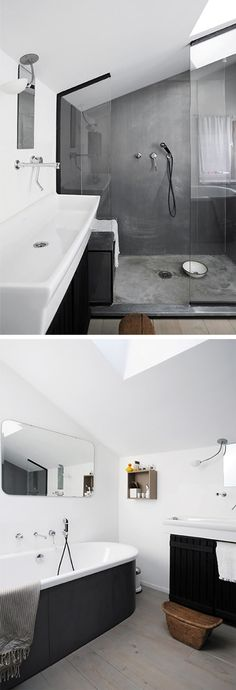concrete + matte black + white + wooden floors