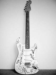 World's most expensive guitar. Fender Stratocaster signed by Mick Jagger, Keith Richards, Eric Clapton, Brian May, Jimmy Page, David Gilmour, Jeff Beck, Pete Townshend, Mark Knopfler, Ray Davis, Liam Gallagher, Ronnie Wood, Tony Iommi, Angus & Malcolm Young, Paul McCartney, Sting, Ritchie Blackmore, Def Leppard and Bryan Adams.