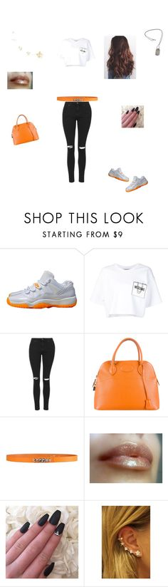 """""""Orangee!!!!!!!"""" by taviaaaaa on Polyvore featuring NIKE, Moschino, Topshop, Hermès, George J. Love, Tiffany & Co., women's clothing, women's fashion, women and female"""