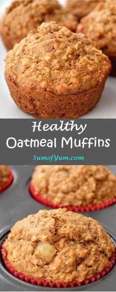 These healthy oatmeal muffins are great for breakfast or a snack. This oatmeal muffin recipe is made with organic oats, whole wheat flour and applesauce. #muffins