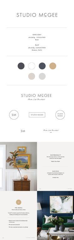 Studio McGee von Saturday Studio – Logo and Branding – Natur Graphic Design Trends, Freelance Graphic Design, Graphic Design Branding, Logo Design Inspiration, Business Inspiration, Photography Brochure, Photography Website, Brand Presentation, Brand Fonts