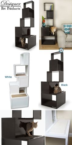Doubles as a bookshelf. I hate the way cat towers look, so I am in love with this one! Mimi Chat, Living With Cats, Cat Towers, Cat Playground, Cat Shelves, Cat Enclosure, Ideias Diy, Cat Condo, Cat Room