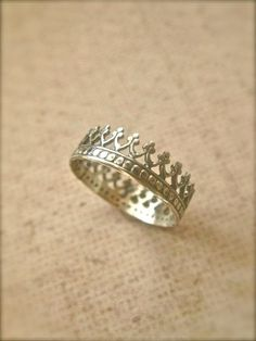 Crown Ring in Sterling Silver by KayaSattvaJewelry on Etsy, $26.00 I need a size 9 for my thumb so I can have it as a thumb ring