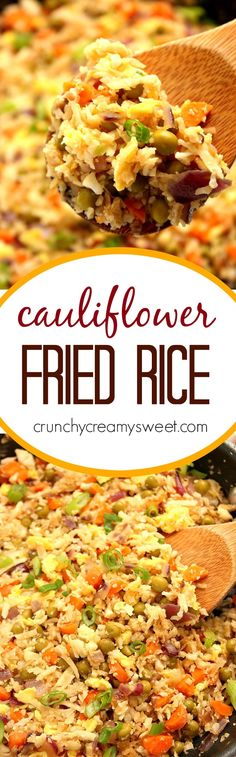 Cauliflower Fried Rice recipe - I used cauliflower rice in one of our favorite dishes and it is amazing! This healthier version of fried rice is so easy and so delicious!