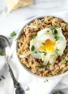 Savory Parmesan Oats with Poached Egg – The Kitchen Paper