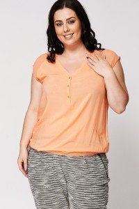 Peach Sleeveless Top With Shoulder Detail