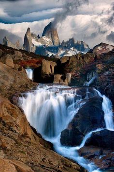 Photo: The Smoking Mountain ( by Doug Solis ) Los Glaciares National Park in Argentina ~ Mount Fitz Roy, in the Andes of southern Patagonia, South America. Places Around The World, The Places Youll Go, Places To See, Around The Worlds, Beautiful Waterfalls, Beautiful Landscapes, Beautiful World, Beautiful Places, Amazing Places