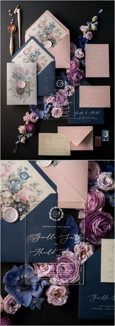 Navy and pink vintage wedding invitations 01/ACGN/z #weddings #navywedding #pinkwedding #vintageweddings #weddinginvitation