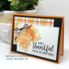 Fall Cards, Holiday Cards, Handmade Thanksgiving Cards, Thanksgiving Crafts, Leaf Cards, Stamping Up Cards, Card Sketches, Halloween Cards, Paper Cards