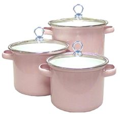 Calypso Basics -Piece Stockpot Set with Glass Lids, Pink #pink
