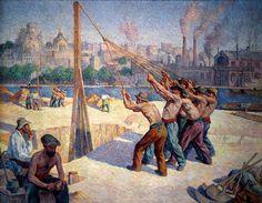 """Maximilien Luce,  """"Les batteurs de pieux"""", entre 1902 et 1905. Musée d'Orsay"""
