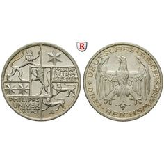 Weimarer Republik, 3 Reichsmark 1927, Uni Marburg, A, f.st, J. 330: 3 Reichsmark 1927 A. Uni Marburg. J. 330; fast stempelfrisch,… #coins
