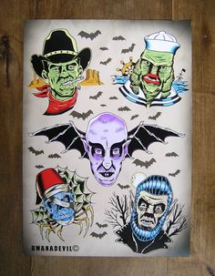 Classic monsters tattoo flash print. Frankenstein by bwanadevilart