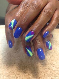 Gelish nail art neon colors