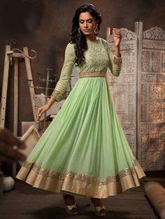 Light Green Georgette Anarkali Suit with Mirror Work
