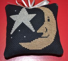 Cross Stitch Ornament Moon and Stars by lovemypaperaddiction, $9.99