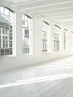 Bright white studio space.