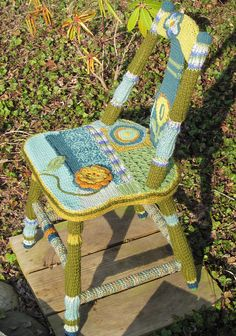 Check out the deal on Knitted and Crocheted Covered Wooden Chair at Eco First Art
