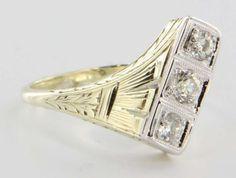 Art Deco 14 Karat Yellow White Gold Diamond Cocktail Ring Vintage Fine Jewelry Heirloom
