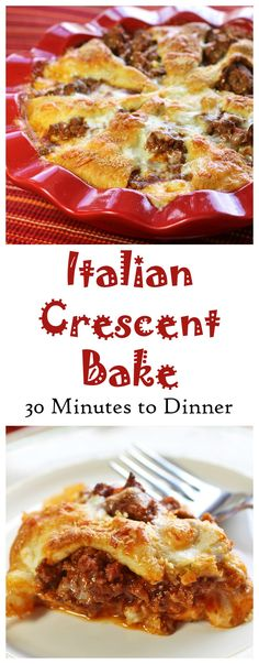 Italian Crescent Bake - Crescent rolls with a savory Italian filling with mozzarella cheese. Ready in 30 minutes for a quick weeknight dinner. Recipes Food and Cooking
