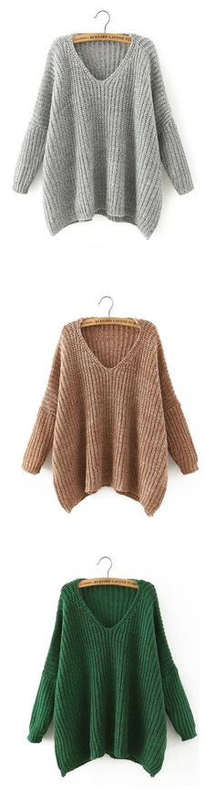 Fall in love with the Loose Pullover Sweater, which will compliment any type of body. Hit this with shein.com.