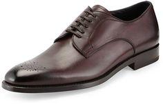 $695, Burgundy Leather Derby Shoes: Ermenegildo Zegna Garonne Medallion Toe Derby Shoe Burgundy. Sold by Neiman Marcus. Click for more info: https://lookastic.com/men/shop_items/93269/redirect