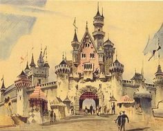 Early rendering of Disneyland's Sleeping Beauty Castle; note how the upper structure now faces the back, which Imagineers felt looked better