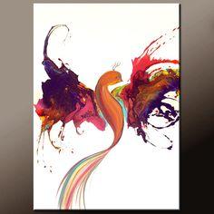 Pintura abstracta sobre lienzo 24 x 36 hecho al orden por wostudios