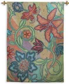 Fine Art Tapestries 5232-WH Botanicals Garden Party Mosaic Wall Tapestry / Wall Hanging FA-5232-WH