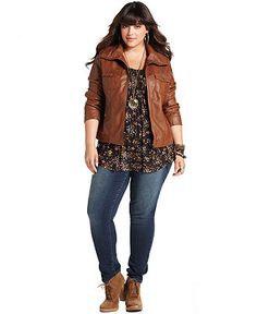 American Rag Plus Size Jacket, Faux Leather Bomber (Macy's)  # Casual Wear! # boots & jeans