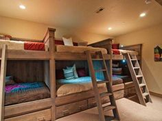 Love this basement bedroom, perfect for kids sleepovers. - this would be great for someone with lots of kids! :)