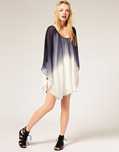 Reverse Dip Dye Cape Dress