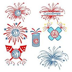 Fourth of July Fireworks Pack including Colorful Fireworks and Motif Sparks Monogram Round Circle Frame and Split Cuttable Design Cut File. Vector, Clipart, Digital Scrapbooking Download, Available in JPEG, PDF, EPS, DXF and SVG. Works with Cricut, Design Space, Sure Cuts A Lot, Make the Cut!, Inkscape, CorelDraw, Adobe Illustrator, Silhouette Cameo, Brother ScanNCut and other compatible software. This set will ignite your patriotic celebrations and show off your patriotism.
