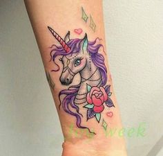 Waterproof Temporary Tattoo Sticker colorful unicorn horse butterfly women's Water Transfer fake tattoo flash tattoos for girl