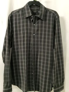 DKNY GRAY PLAID BUTTON DOWN SHIRT MENS SIZE MED #DKNY #ButtonFront