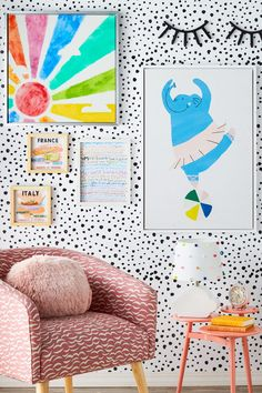Learn how to decorate your kids' rooms walls with pretty pastels & subdued hues. Shop new, exclusive kids/ furniture & décor from Drew Barrymore Flower Kids – only at Walmart. Walmart Home, Only At Walmart, Diy Kids Furniture, Furniture Decor, Bedroom Furniture, Furniture Design, Rainbow Bedroom, Rainbow Room Kids, Rainbow Art