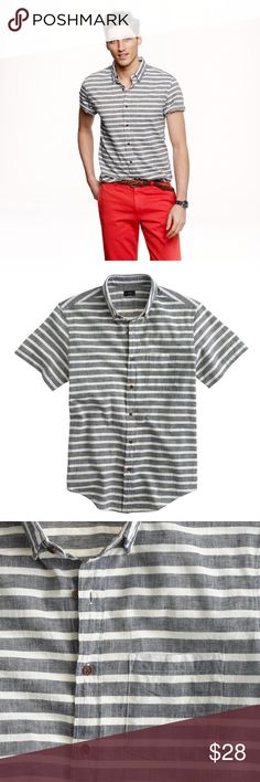 J crew short-sleeve shirt in indigo stripe This is the shirt every guy needs in his warm-weather arsenal. Made of fine 100s two-ply cotton with a peached finish obtained from our top-secret multistep wash process that we first launched in 2005. (If we told you what it was, it wouldn't be a secret. Sorry.) The result? A shirt that feels like it's been through an adventure or two, right out of the box. Please see Small faded mark on front. Not very noticeable. J. Crew Shirts Casual Button Down…
