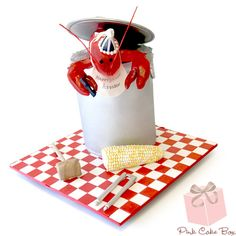 Summer Lobster Bake Birthday Cake by Pink Cake Box Unique Cakes, Creative Cakes, Candy Cakes, Cupcake Cakes, Food Cakes, Pastries Images, Lobster Cake, Pink Cake Box, Cute Cakes