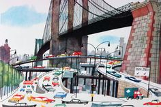 """illustration from Miroslav Sasek's vintage children's book, """"This is... New York"""" showing Brooklyn Bridge with cars passing beneath it"""