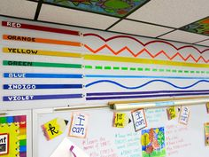 Cassie Stephens: How to Decorate an Art Room: Line and Color Wall!