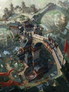 dragon_city by_c_h_e_n_k_a_i. Asian fantasy art, digital illustrations and character studies. Fantasy City, 3d Fantasy, Fantasy Places, Fantasy Setting, Fantasy Kunst, Fantasy Landscape, Fantasy Artwork, Fantasy World, Landscape Art