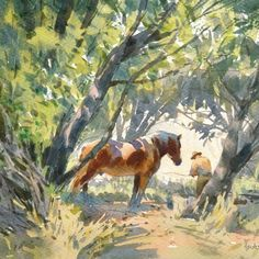 """Mike Kowalski on Instagram: """"""""In the Willow Thicket"""" This is a small watercolor inspired from time spent on my friend Gregg's ranch, where a bunch of draft horses rule…"""""""