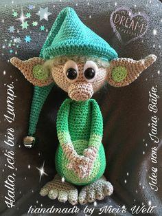 Der kleine Wichtel mit der grünen Zipfelmütze möchte gern Dein Freund sein. Magst Du ihn häkeln? Er freut sich schon auf Dich. Probiers gleich mal aus.