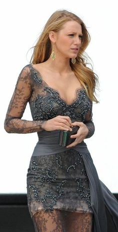 grey lace dress with pearls   Blake looks stunning as usual