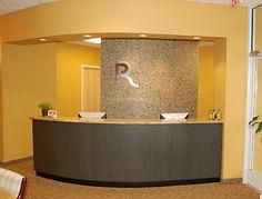 Rounded Reception desk - Tile back wall