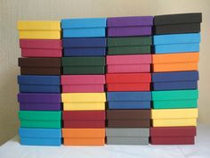 A colourfull pallet of gift boxes Box Company, Gift Boxes, Craft Gifts, Pallet, Crafts, Handcrafted Gifts, Manualidades, Handmade Gifts, Palette