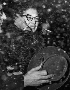 Ava Gardner arrives at a snowy New York International Airport, March 23, 1960