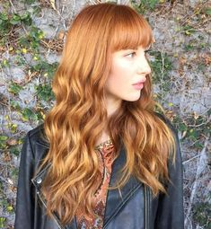 Copper Red Wavy Hair With Blunt Bangs, Bangs and Wavy Hair, Hair References for Drawing Red Hair With Bangs, Layered Haircuts With Bangs, Wigs With Bangs, Big Hair, Long Face Hairstyles, Haircuts For Long Hair, Long Hair Cuts, Wave Hairstyles, Hairstyle Short