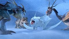 The Snow Wraith surrounded by Meatlug, Hookfang, and Stormfly  in 'Dragons: Race to the Edge.'